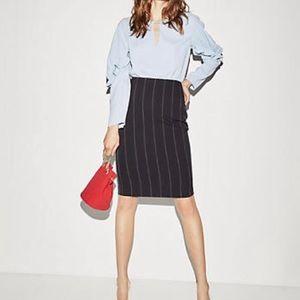 Express Navy Blue Pinstripe Pencil Skirt 4